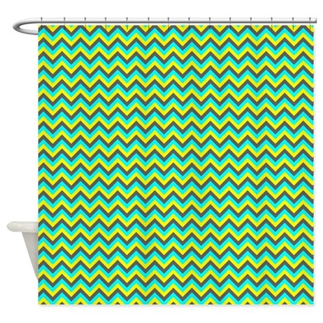 Aqua Yellow And Gray Chevrons Shower Curtain By ShowerCurtainsWorld