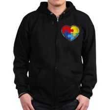 Autism Puzzle Heart Zip Hoodie