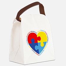 Autism Puzzle Heart Canvas Lunch Bag