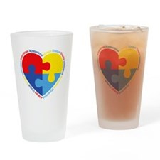 Autism Puzzle Heart Drinking Glass