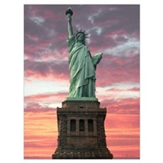 Statue Of Liberty Sunset Wall Art Poster