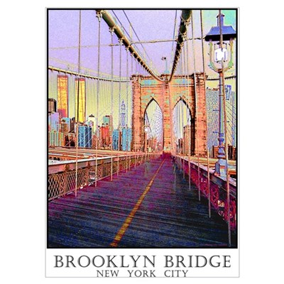 brooklyn bridge twin towers wall art poster. Black Bedroom Furniture Sets. Home Design Ideas