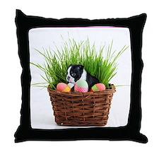 Easter Boston Terrier Dog Throw Pillow