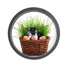 Easter Boston Terrier Dog Wall Clock