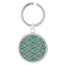 Triangles geometrical pattern Round Keychain
