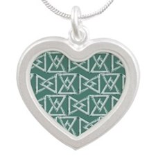 Triangles geometrical patter Silver Heart Necklace