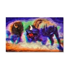 Rainbow Bison Car Magnet 20 x 12