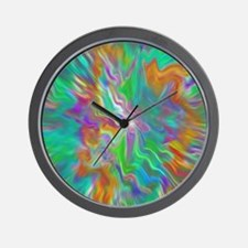 Green psychedelic color field  Wall Clock