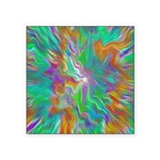"Green psychedelic color fie Square Sticker 3"" x 3"""