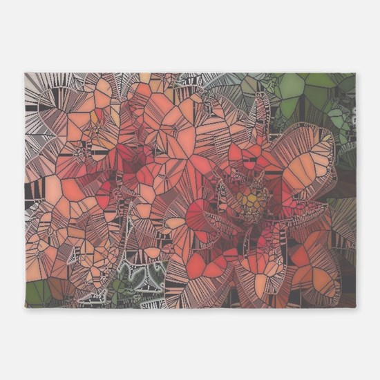 flowers such as stained glass2 5'x7'Area Rug