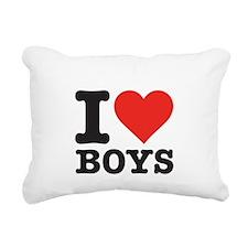 I love boys Rectangular Canvas Pillow