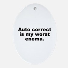 Auto Correct Is My Worst Enema Ornament (Oval)