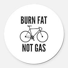 Burn Fat Not Gas Round Car Magnet