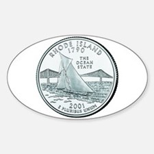 Rhode Island State Quarter Oval Decal