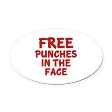 Free Punches In The Face Oval Car Magnet