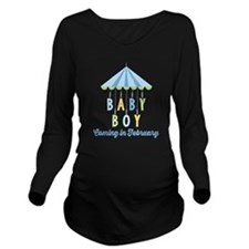 Baby Boy Due in Febr Long Sleeve Maternity T-Shirt