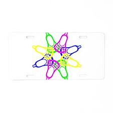 Lacrosse Neon Heads Aluminum License Plate