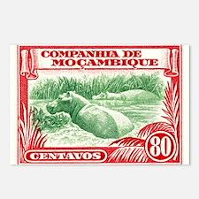 1937 Mozambique Hippopotamus Postage Stamp Postcar