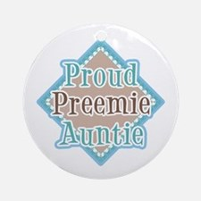 Proud Preemie Auntie Ornament (Round)