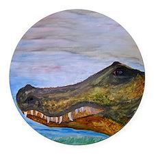 Alligator Head Art Round Car Magnet