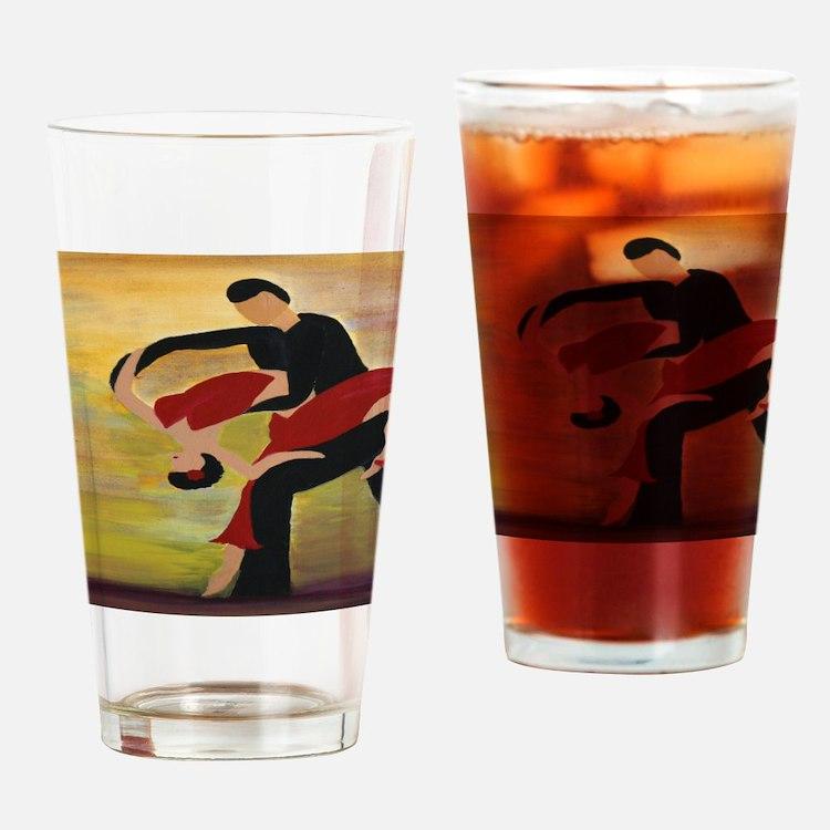 Ballroom Dancers Drinking Glass