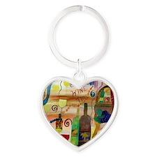 Wine Time Heart Keychain