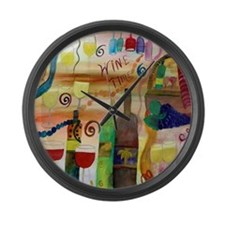 Wine Time Large Wall Clock