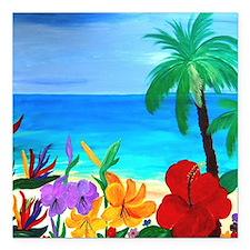 """Tropical Beach Square Car Magnet 3"""" x 3"""""""