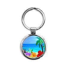 Tropical Beach Round Keychain
