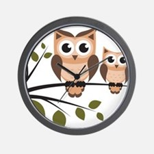 Brown Owl Duo Wall Clock