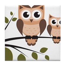 Brown Owl Duo Tile Coaster