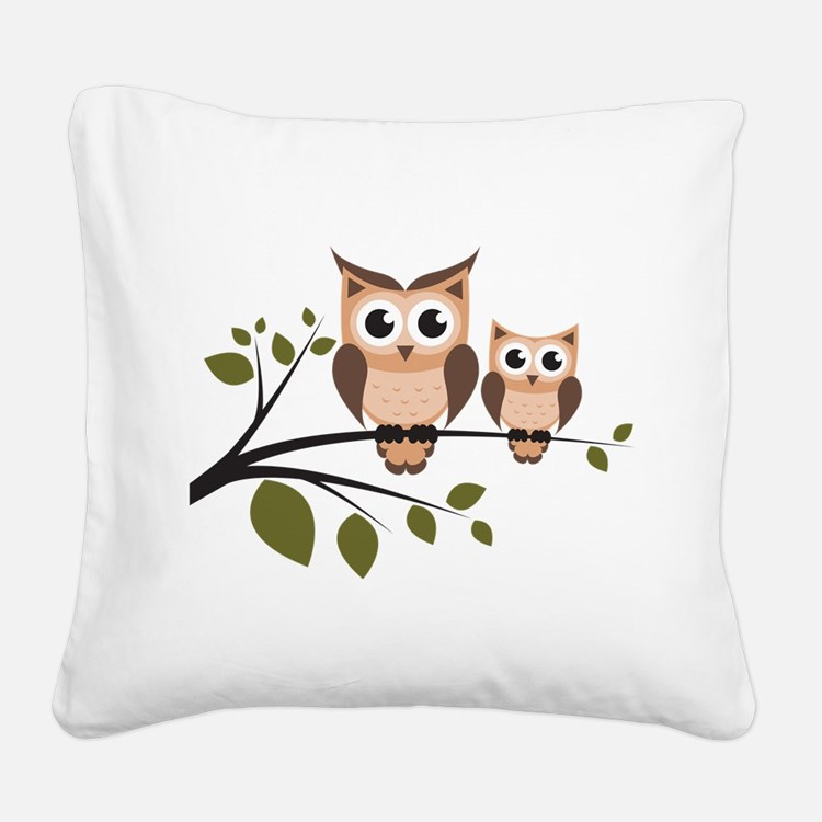 Brown Owl Duo Square Canvas Pillow