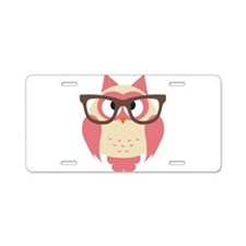 Owl with Glasses Aluminum License Plate