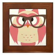 Owl with Glasses Framed Tile