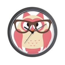 Owl with Glasses Wall Clock
