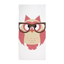 Owl with Glasses Beach Towel