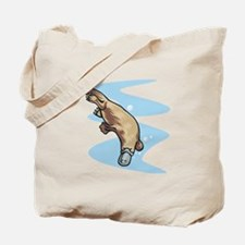 Swimming Duckbill Platypus Tote Bag