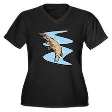 Swimming Duckbill Platypus Women's Plus Size V-Nec