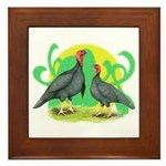 Blue Slate Turkeys2 Framed Tile
