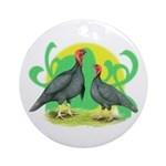 Blue Slate Turkeys2 Ornament (Round)