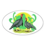Blue Slate Turkeys2 Oval Sticker