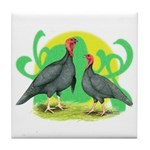 Blue Slate Turkeys2 Tile Coaster