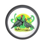 Blue Slate Turkeys2 Wall Clock
