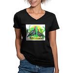 Blue Slate Turkeys2 Women's V-Neck Dark T-Shirt