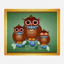 Three Alert Little Owls Throw Blanket