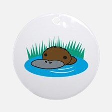 Silly Platypus in the Water Ornament (Round)