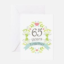 65th Anniversary flowers and hearts Greeting Card