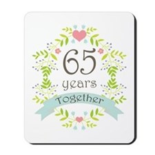65th Anniversary flowers and hearts Mousepad