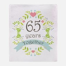 65th Anniversary flowers and hearts Throw Blanket