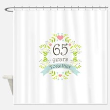 65th Anniversary flowers and hearts Shower Curtain